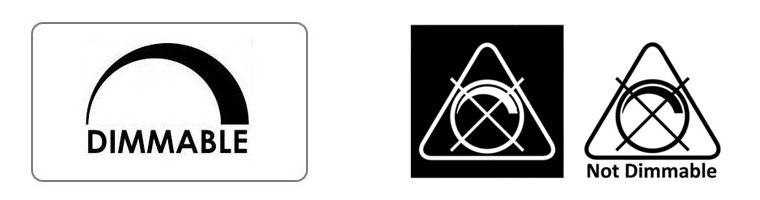 Примеры знаков, обозначающих поддержку или отсутствие диммирования.